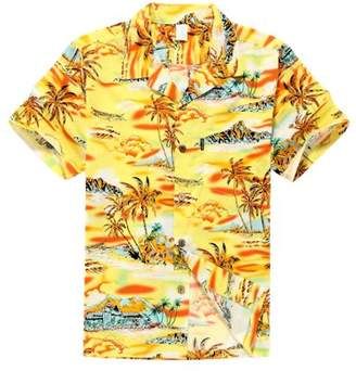 Hawaii Hangover Hawaiian Shirt Aloha Shirt in Yellow Sunset with Palm