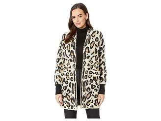 Vince Camuto Long Sleeve Cheetah Eyelash Two-Pocket Cardigan