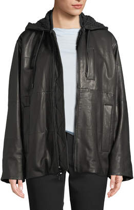 Oversized Zip-Front Leather Puffer Jacket