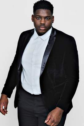 boohoo Big And Tall Black Velvet Tux Jacket