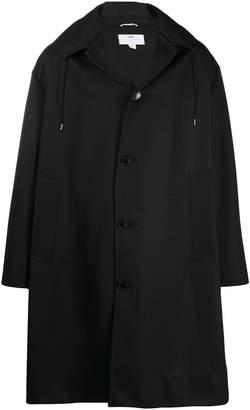 Oamc zippered hood single breasted coat