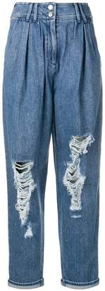 Balmain high waisted destroyed jeans