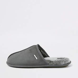 River Island Grey mule slippers