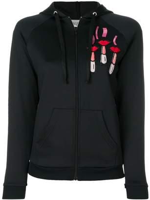 Valentino lipstick-embroidered zipped hoodie