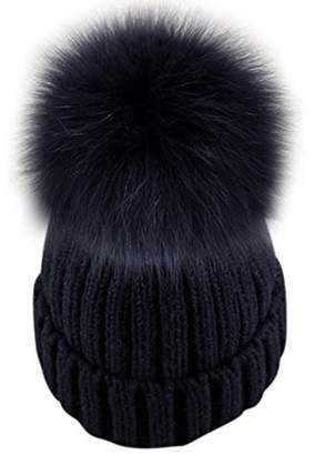 203b25eb6e0 Dikoaina Womens Girls Knitted Fur Hat Real Large Silver Fox Fur Pom Pom  Beanie Hats (