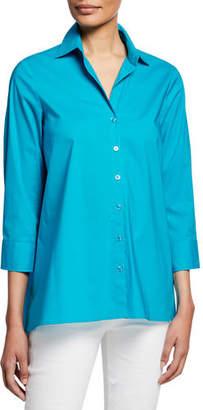 Finley Button-Down 3/4-Sleeve Trapeze Shirt