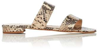 Barneys New York Women's Snakeskin-Stamped Leather Double-Band Slides $195 thestylecure.com