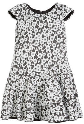 Zoe Gaby Textured Knit Floral Cap-Sleeve Dress, Size 4-6X