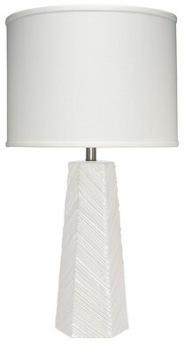 Jamie Young Company High Rise Table Lamp in Cream Ceramic with Drum Shade in Off White Linen Company