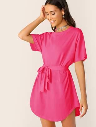 Shein Neon Pink Self Belted Curved Hem Dress