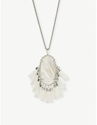 Kendra Scott Betsy rhodium-plated ivory Mother of Pearl tassel necklace
