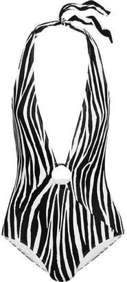 Diane von Furstenberg Zebra-print Halterneck Swimsuit - Black