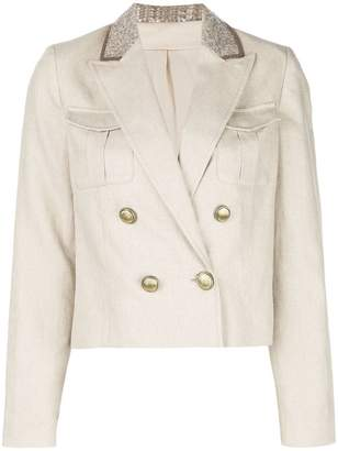 Brunello Cucinelli double breasted cropped blazer