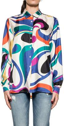 Bagutta White Robys Printed Silk Shirt