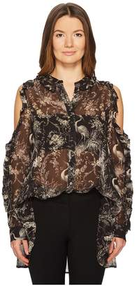 The Kooples Birdy-Print Top with Asymmetrical Shoulders