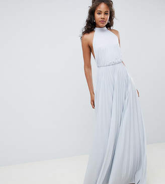 Asos Tall DESIGN Tall high neck pleated maxi dress