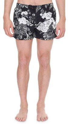 Dolce & Gabbana Floral-Print Swim Shorts, Black $435 thestylecure.com