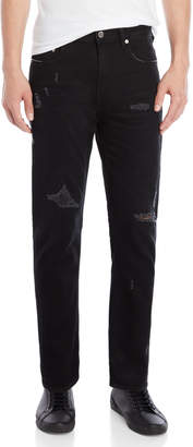 Love Moschino Black Mid-Rise Distressed Jeans