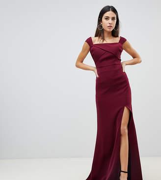 28ba2c309db Yaura off shoulder thigh split maxi dress in maroon
