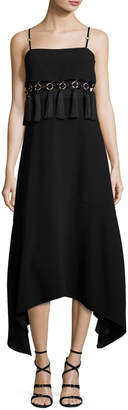 Cinq à Sept Nolana Sleeveless Tassel-Trim Midi Dress