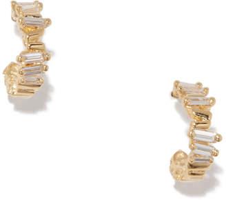 Suzanne Kalan Baguette Diamond Huggies Earring