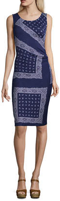 Liz Claiborne Sleeveless Paisley Ruched Dress