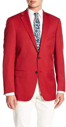 Hart Schaffner Marx Red Sharkskin Notch Collar Wool New York Fit Blazer