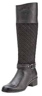 Bandolino Women's Wide Calf Tall Quilted Shaft Riding Boot Ankle Hardware Detail