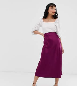 New Look Petite satin midi skirt in burgundy