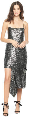 Milly SEA GLASS SEQUINS SLASHED CAMI DRESS