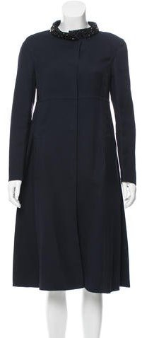 Valentino Valentino Embellished Wool & Silk-Blend Coat