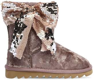 Colors of California Velvet Boots With Sequined Bow