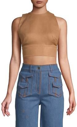 Valentino Women's Sleeveless Linen Cropped Top