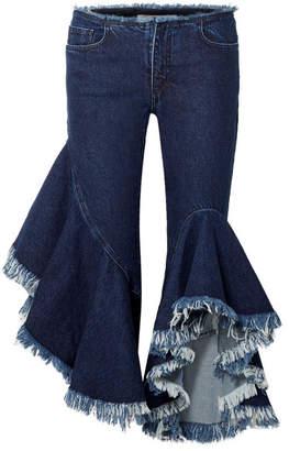 Marques Almeida Marques' Almeida - Frayed Low-rise Flared Jeans - Dark denim