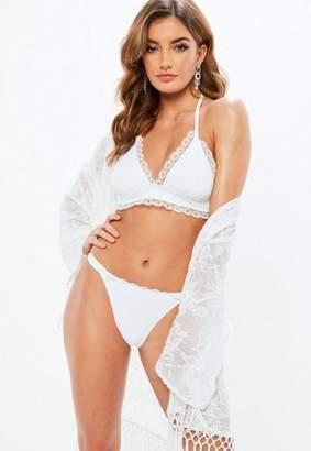 Missguided Longline Triangle Lace Trim Bikini Set