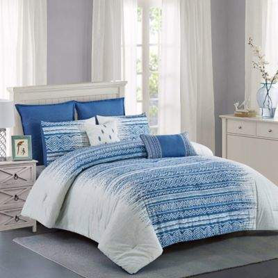 Wonder Home Mason 7-Piece Queen Comforter Set in Blue