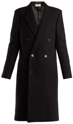Saint Laurent Double Breasted Wool Coat - Womens - Black