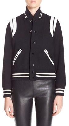 Women's Saint Laurent 'Teddy' White Leather Trim Bomber Jacket $2,550 thestylecure.com