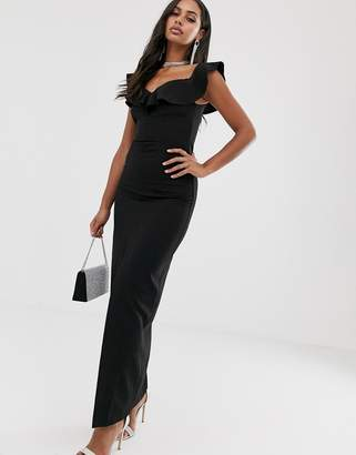 Bardot Vesper maxi dress with frill in black