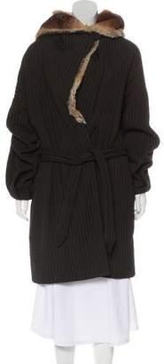 Armani Collezioni Wool-Blend Fur Coat