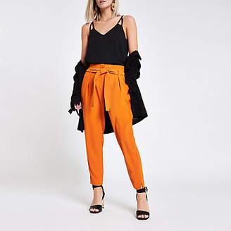 River Island Womens Petite orange tie waist tapered leg trousers