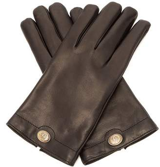 Gucci Logo Plaque Leather Gloves - Mens - Black