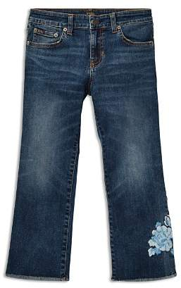 Ralph Lauren Girls' Cropped Flared Embroidered Jeans - Big Kid