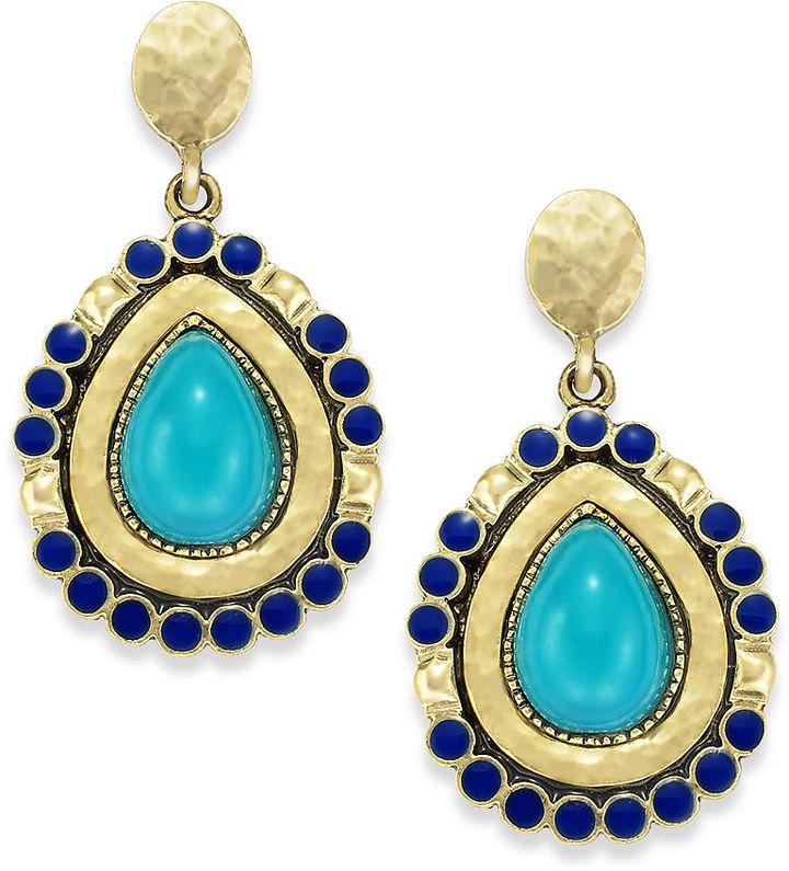 Style&Co. Earrings, Gold-Tone Blue Teardrop Earrings