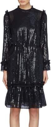 Needle & Thread 'Gloss Sequin' stripe ruffle trim peplum dress