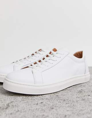 Selected premium leather sneaker in white