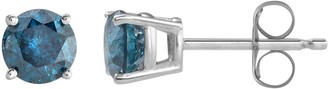 10k White Gold 1 Carat T.W. Blue Diamond Stud Earrings