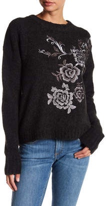 Blank NYC BLANKNYC Zip Back Embroidered Sweater