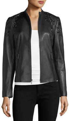 Neiman Marcus Leather Collection Bead-Embellished Leather Jacket
