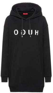 Relaxed-fit long-length hoodie with reversed logo